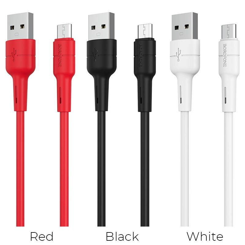 borofone bx30 silicone charging data cable for micro usb colors