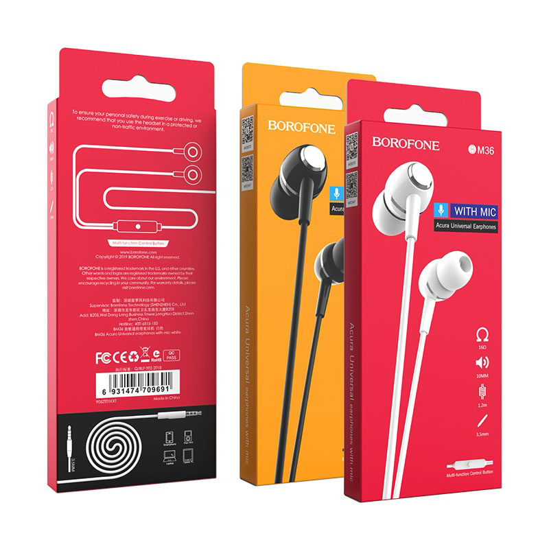 borofone bm36 acura universal earphones with mic package