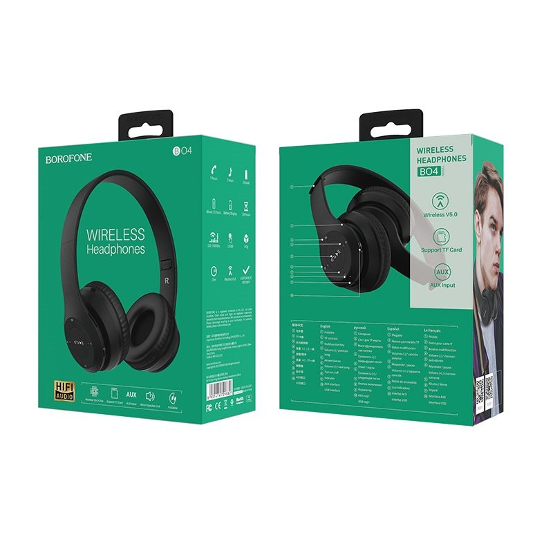 borofone bo4 charming rhyme wireless headphones packages back front black
