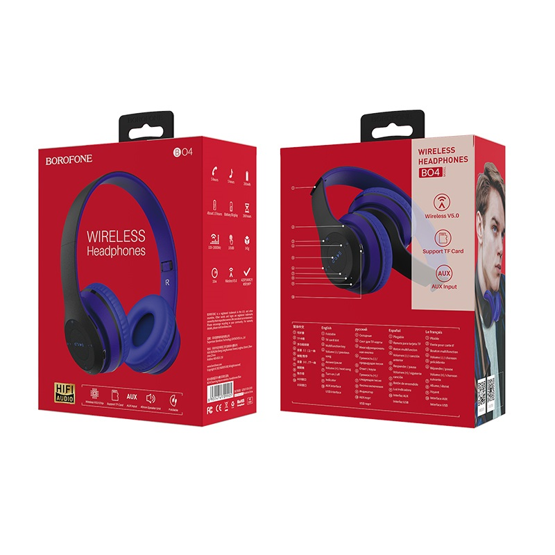 borofone bo4 charming rhyme wireless headphones packages back front blue