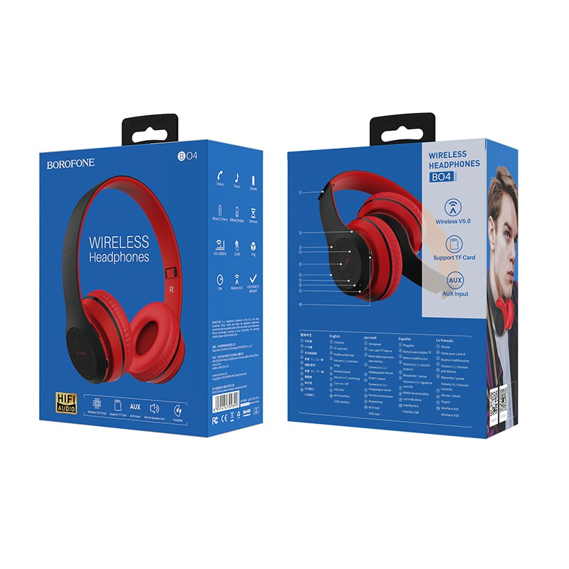 borofone bo4 charming rhyme wireless headphones packages back front red