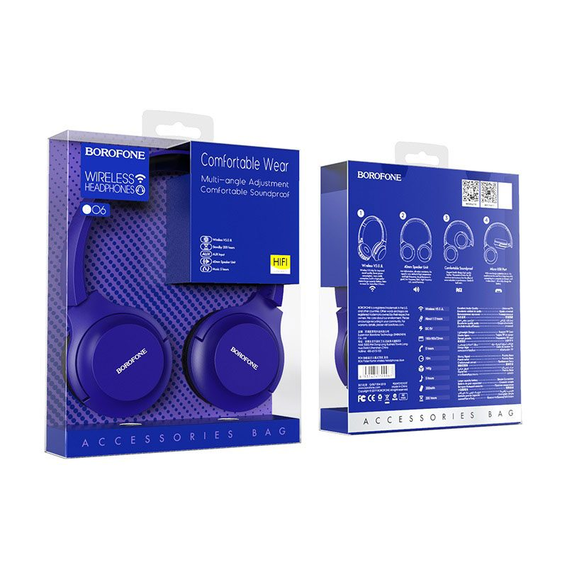 borofone bo6 poise rhyme wireless headphones packages back front blue