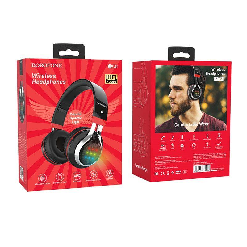 borofone bo8 love song wireless headphones packages back front black