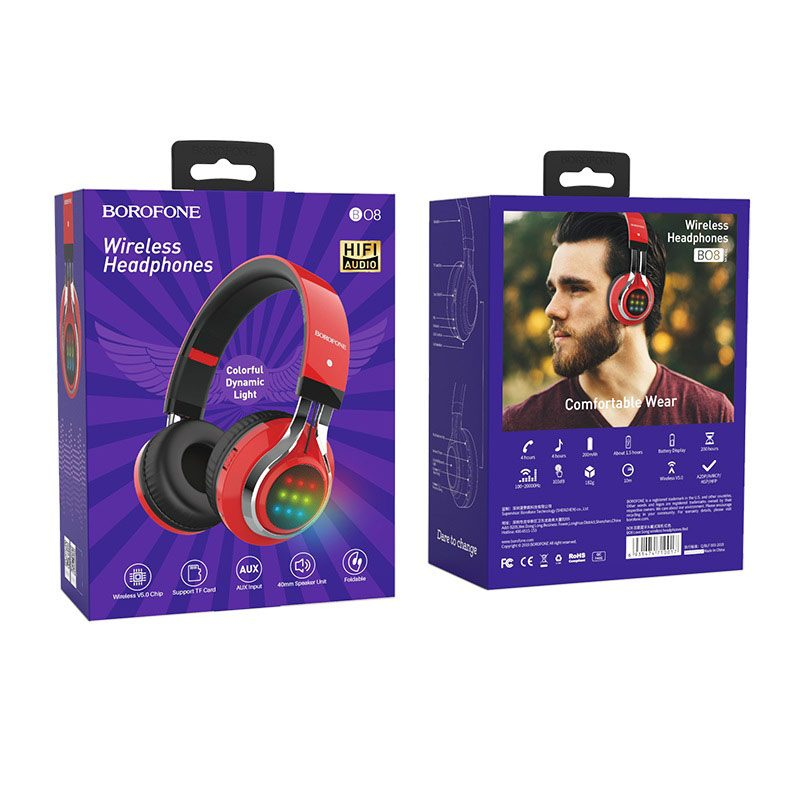 borofone bo8 love song wireless headphones packages back front red