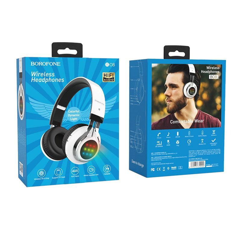 borofone bo8 love song wireless headphones packages back front white