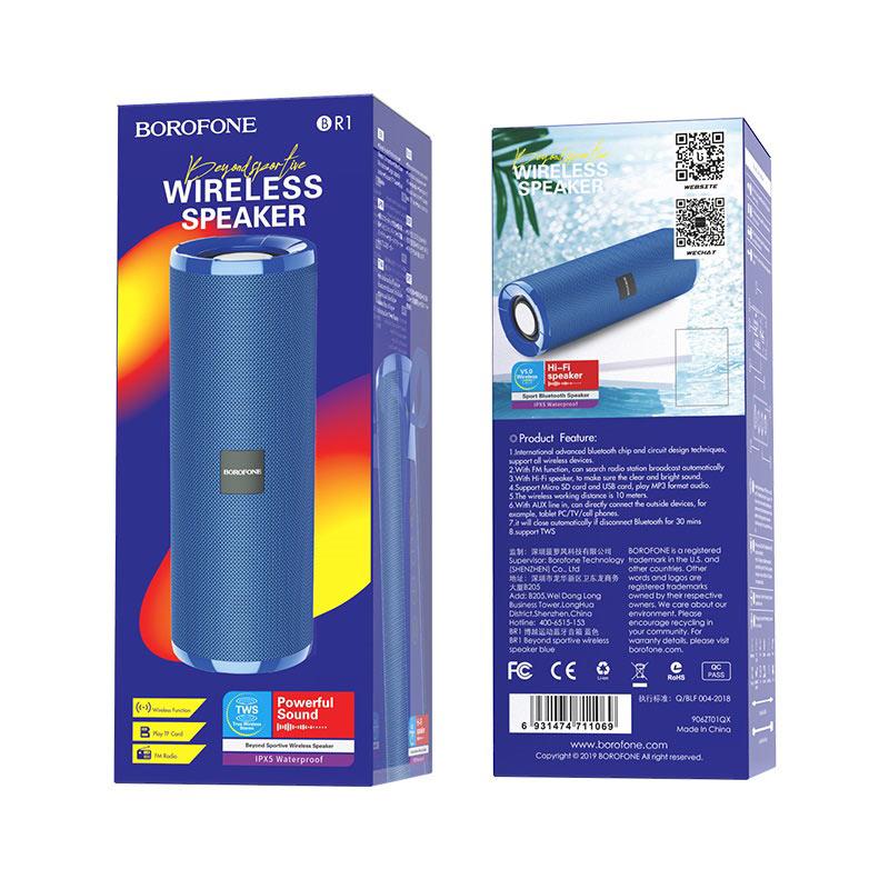 borofone br1 beyond sportive wireless speaker packages back front blue