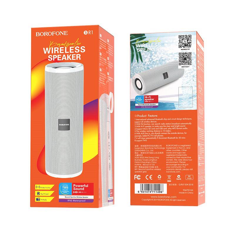 borofone br1 beyond sportive wireless speaker packages back front grey