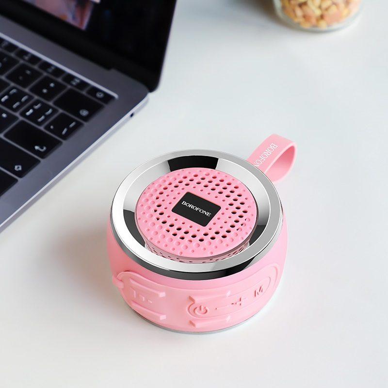 borofone br2 aurora sports wireless speaker interior pink