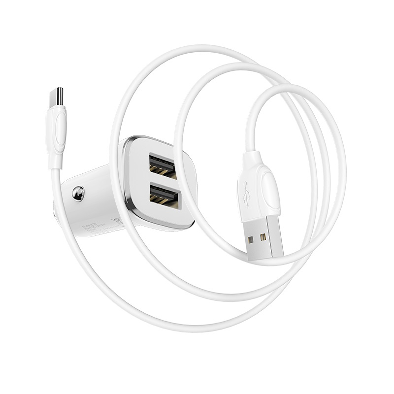 borofone bz12 lasting power double port in car charger set with usb c cable wire