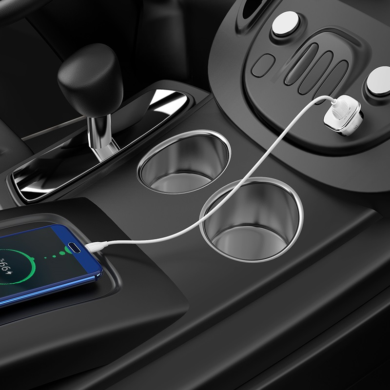 borofone bz12a lasting power qc30 single port in car charger set with usb c cable overview