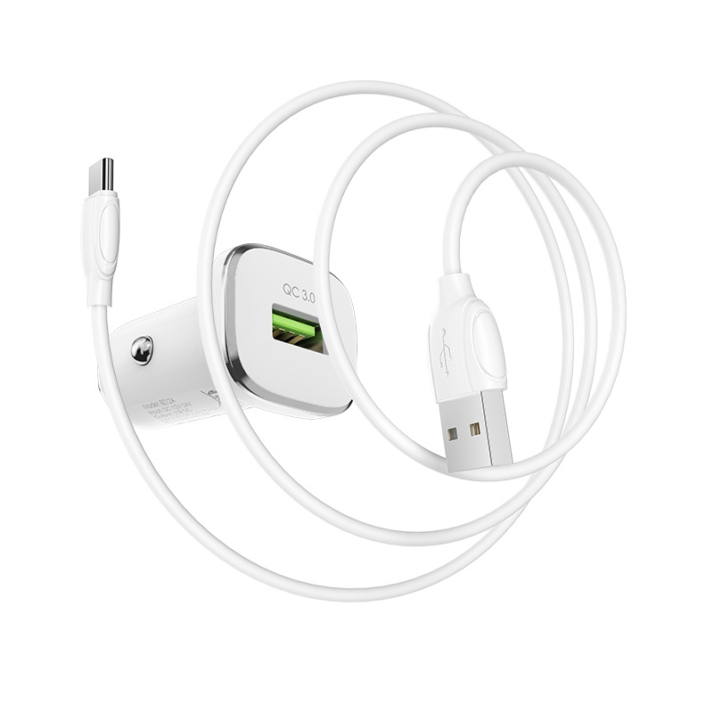 borofone bz12a lasting power qc30 single port in car charger set with usb c cable wire