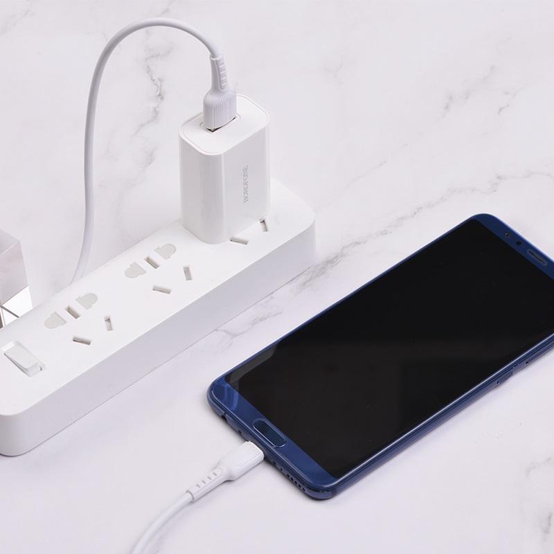 borofone ba33 fast joy single port charger set with usb c cable interior