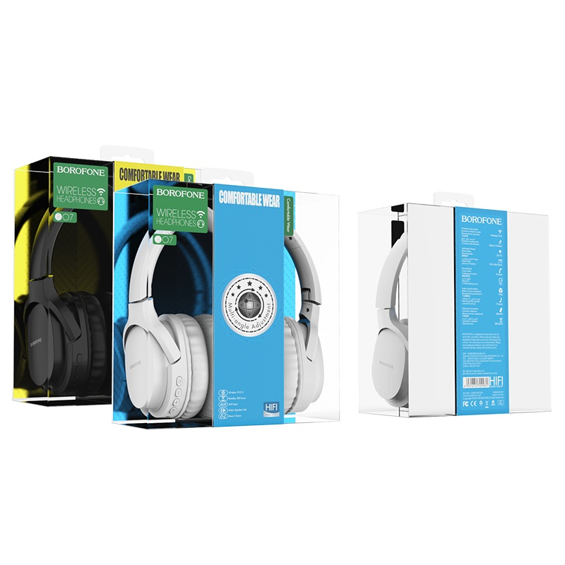 borofone bo7 broad sound wireless headphones package