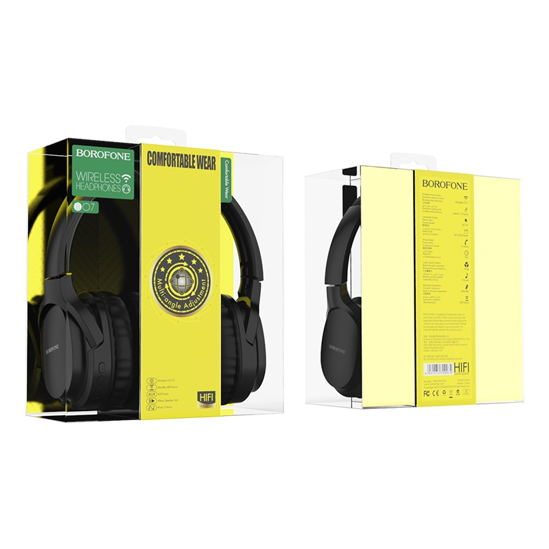 borofone bo7 broad sound wireless headphones packages back front black