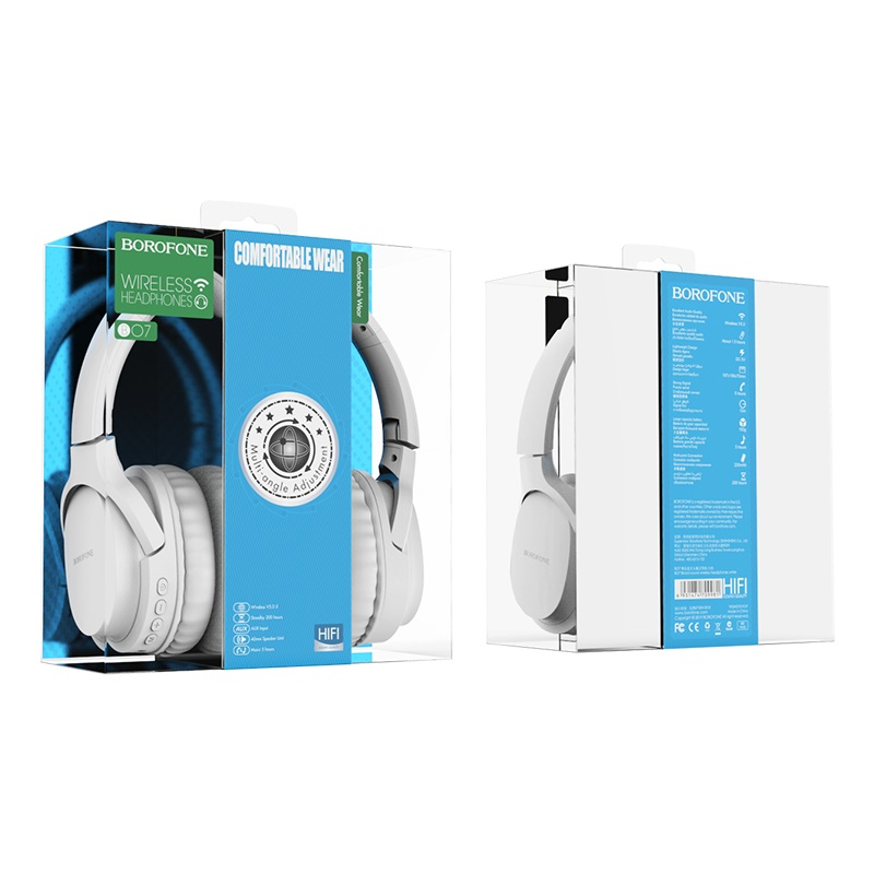 borofone bo7 broad sound wireless headphones packages back front white