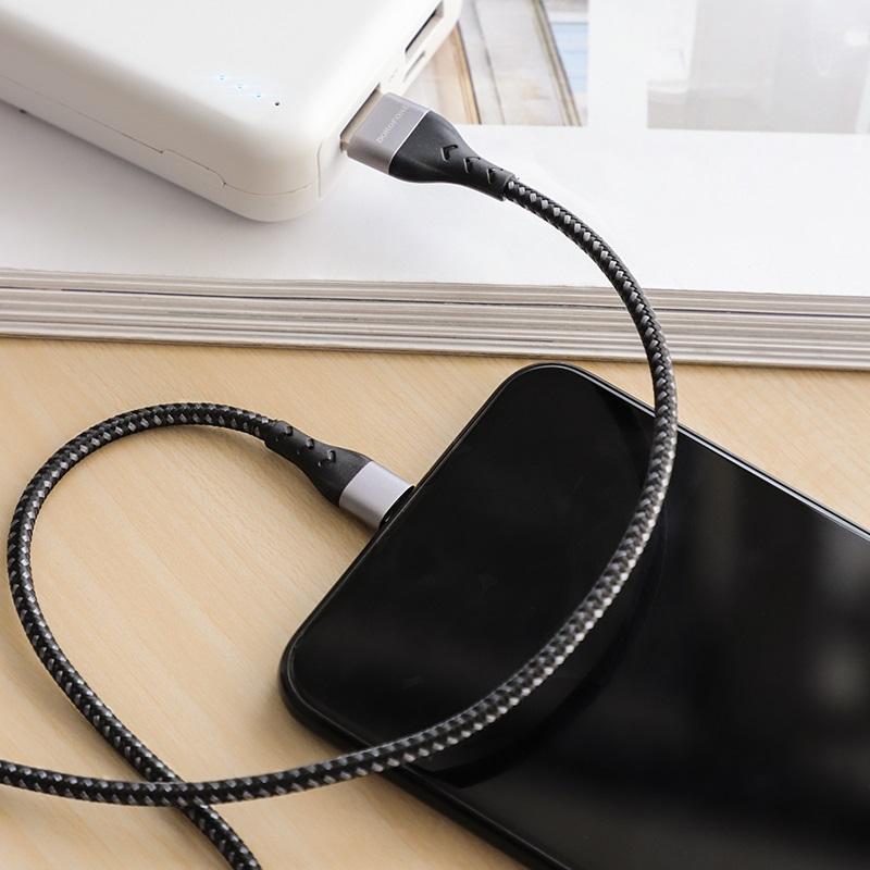 borofone bu11 tasteful charging data cable for lightning interior