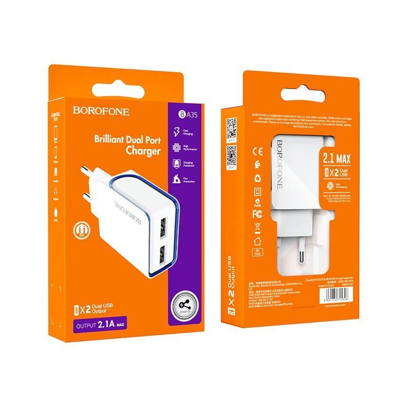 borofone ba35 brilliant dual port charger eu package