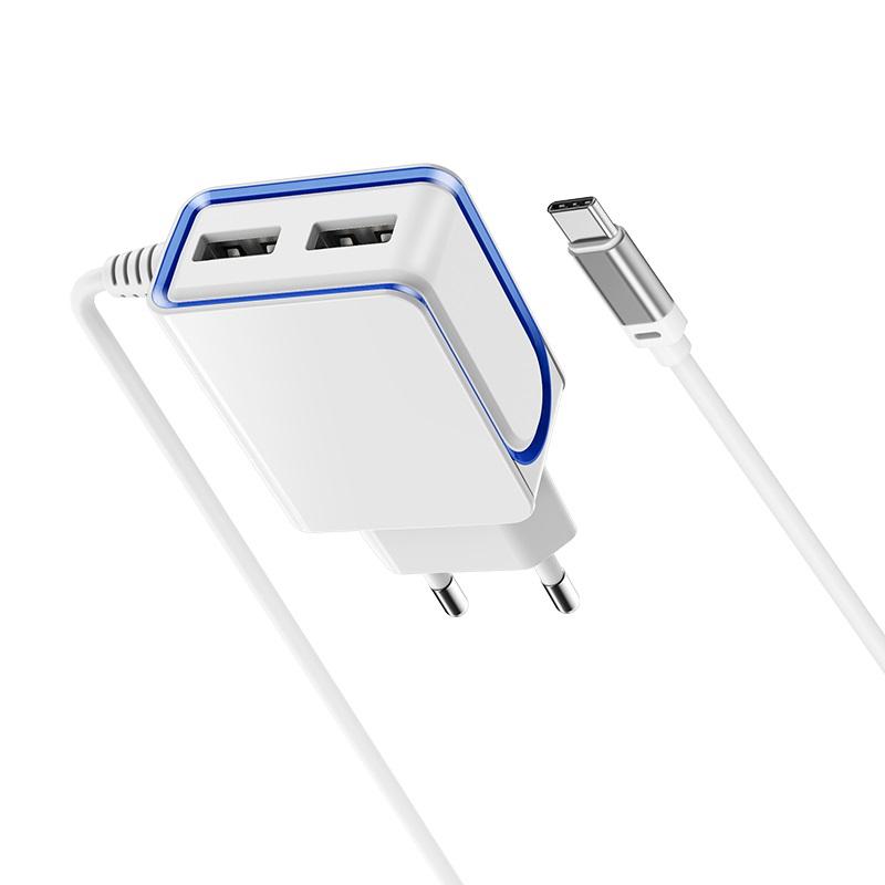 borofone ba35a brilliant dual port charger set ports