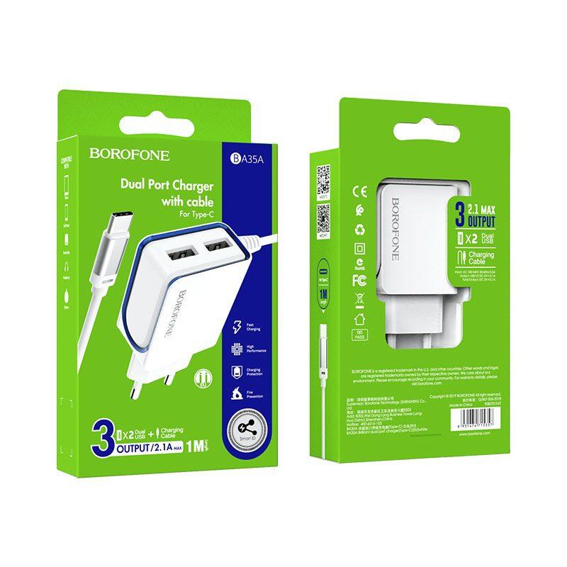 borofone ba35a brilliant dual port charger set usb c package