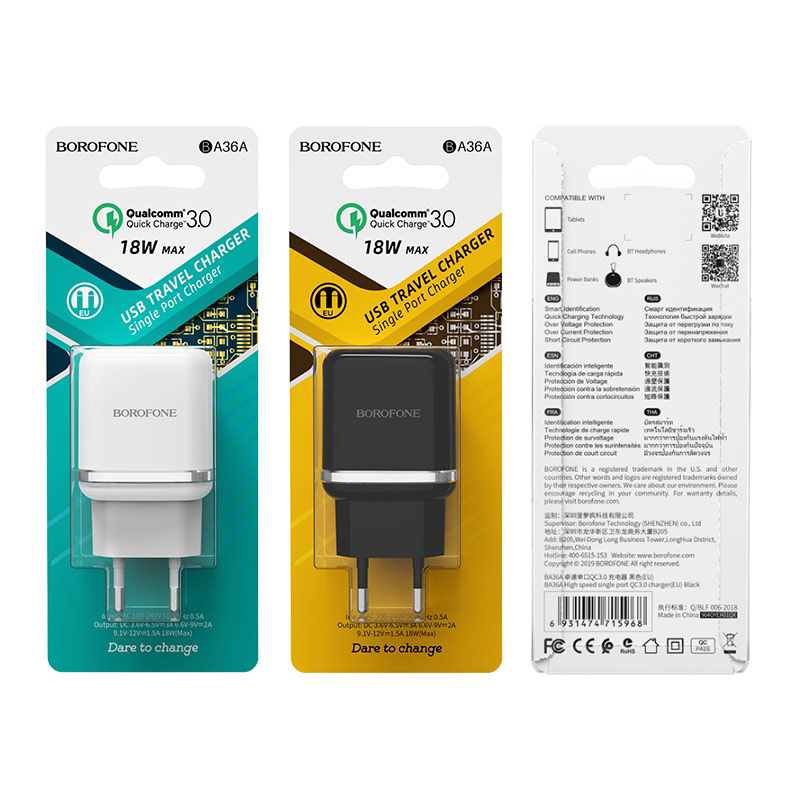 borofone ba36a high speed single port qc30 charger eu packages
