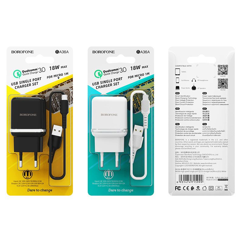 borofone ba36a high speed single port qc30 charger eu set with micro usb cable packages