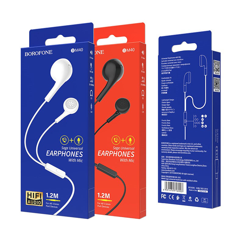 borofone bm40 sage universal earphones with mic packages
