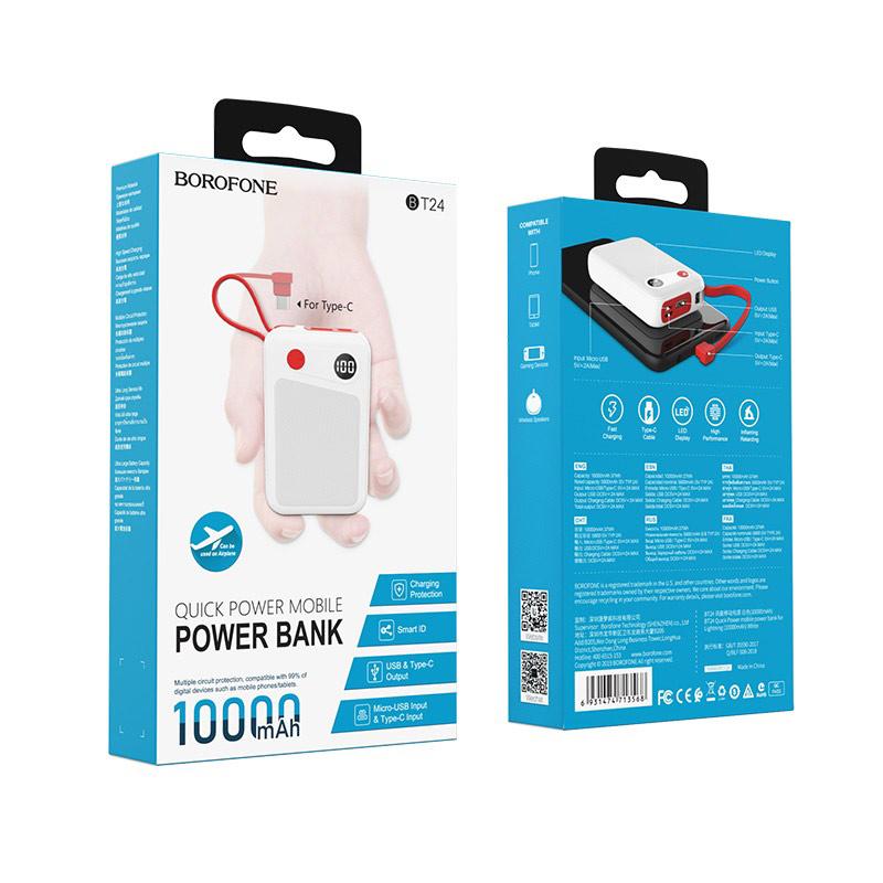 borofone bt24 quick power mobile power bank 10000mah package usb c