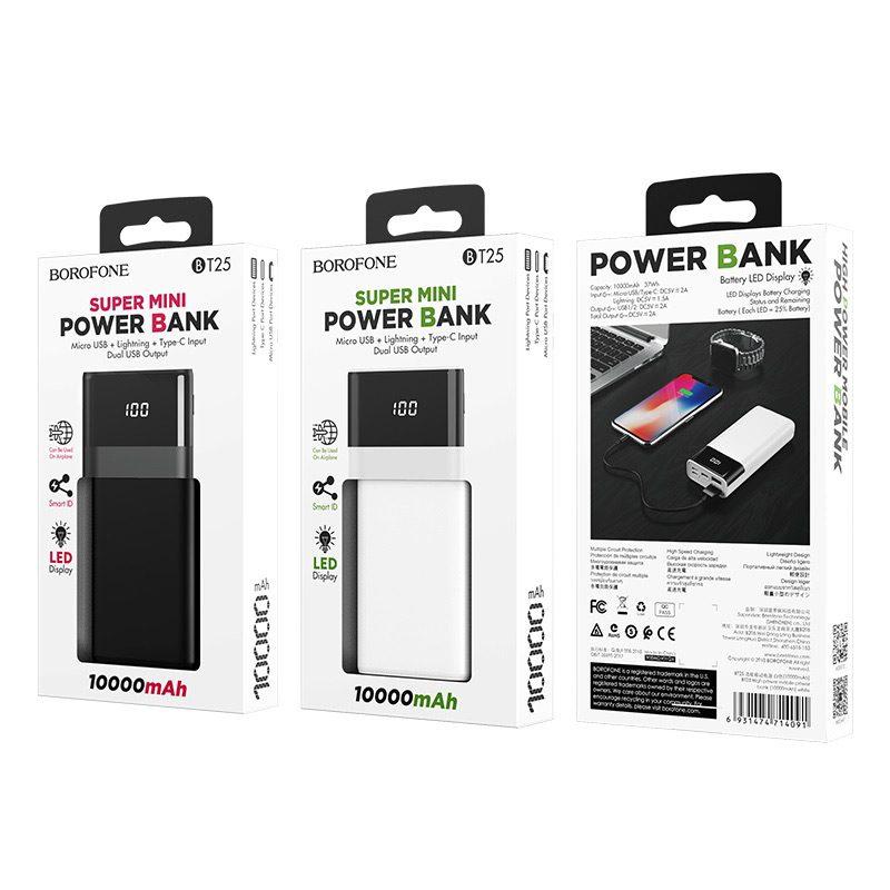 borofone bt25 high power mobile power bank 10000 mAh package