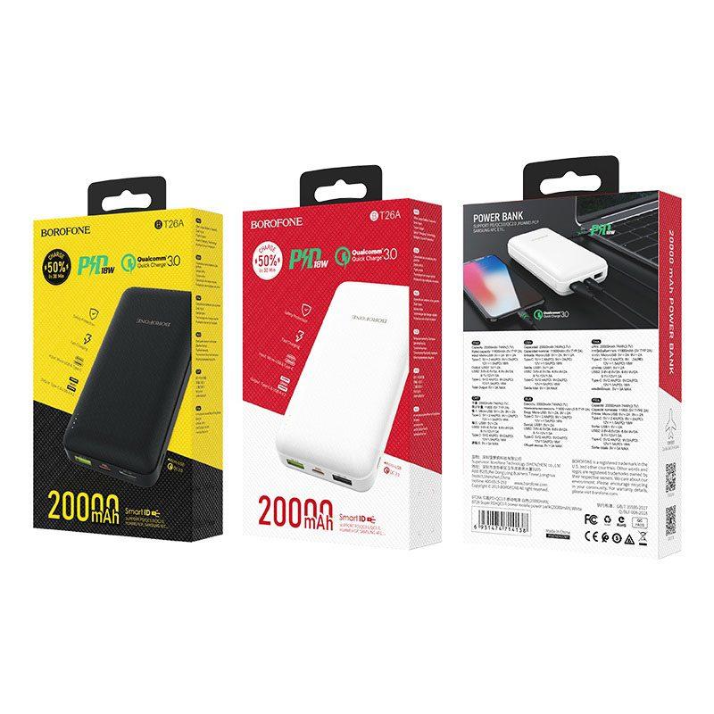 borofone bt26a super pd qc30 power mobile power bank 20000mah packages