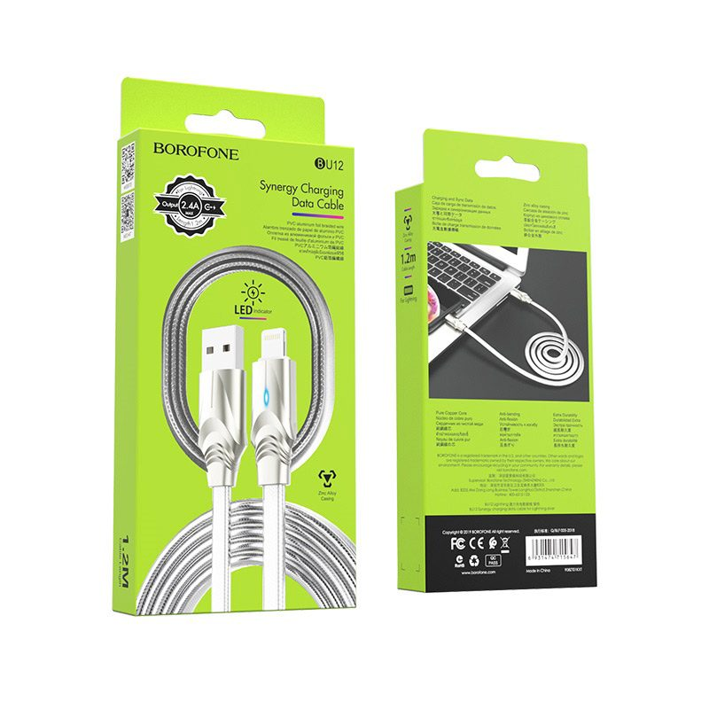borofone bu12 synergy charging data cable for lightning silver package
