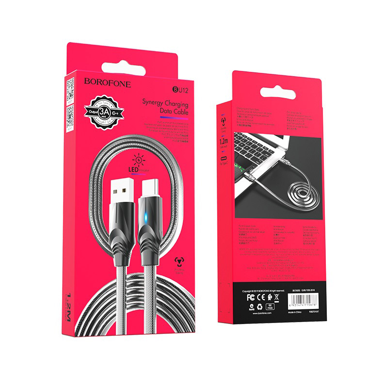 borofone bu12 synergy charging data cable for usb c black package