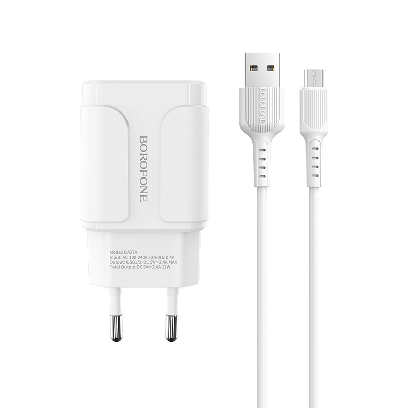 borofone ba37a speedy dual port charger eu with micro usb cable wire