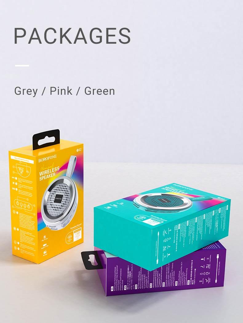 borofone br2 aurora sports wireless speaker packages grey pink green en