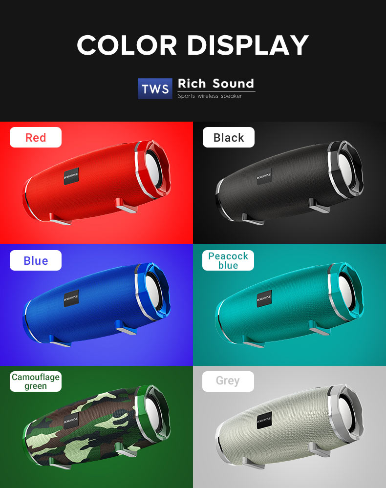 borofone br3 rich sound sports wireless speaker colors en