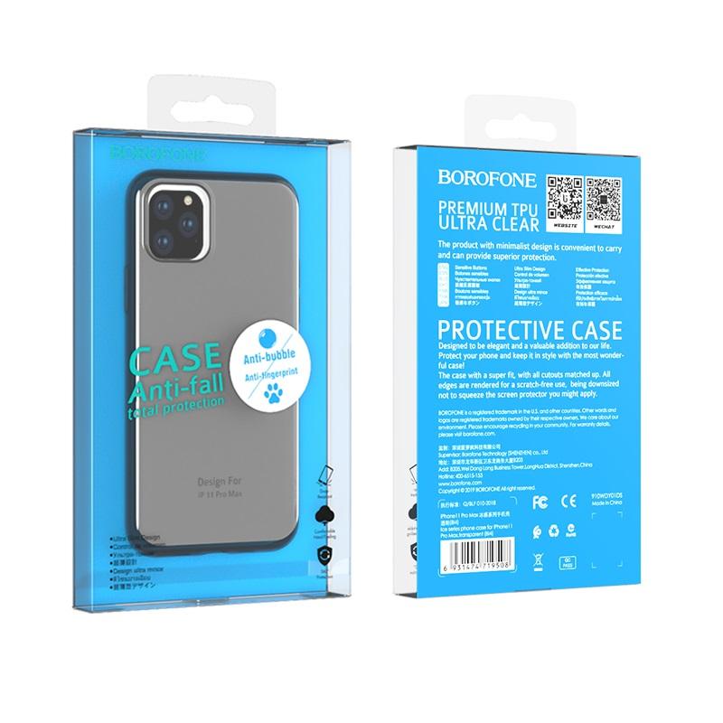 borofone ice series bi4 чехол для телефона для iphone 11pro max упаковка вид спереди сзади