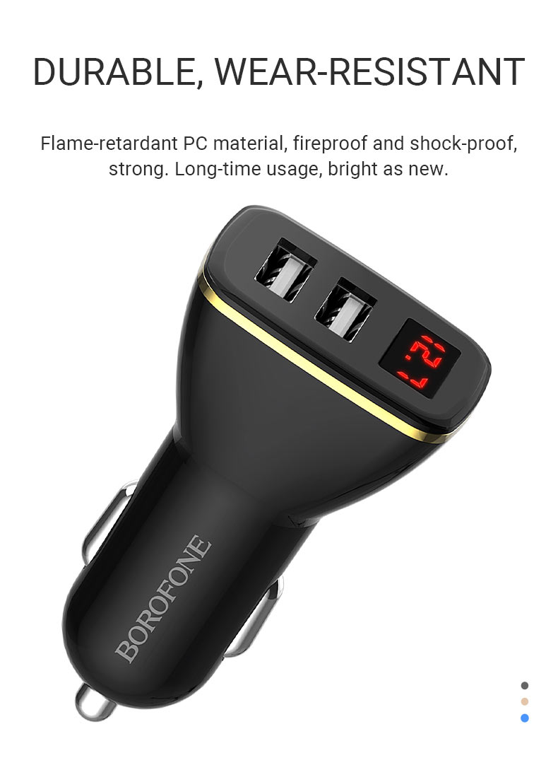 borofone news bz11 speed map dual port digital display car charger durable en