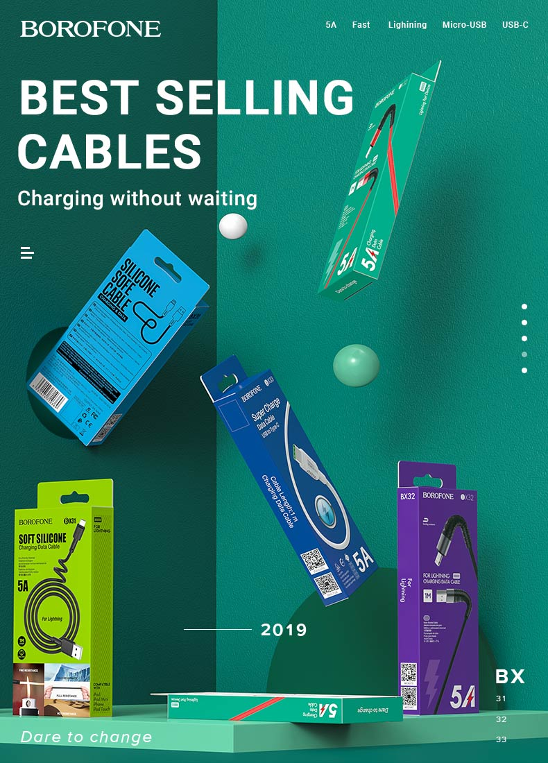 borofone news charging cables x series en