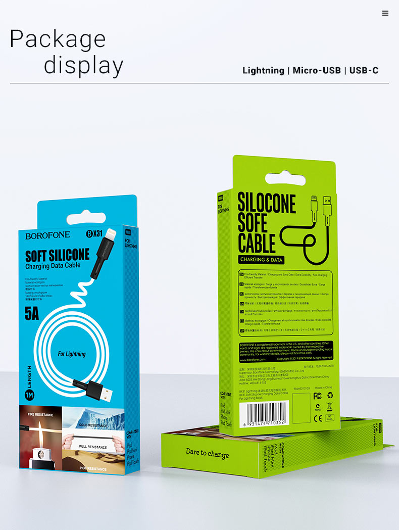 borofone news soft silicone cables bx31 packages en