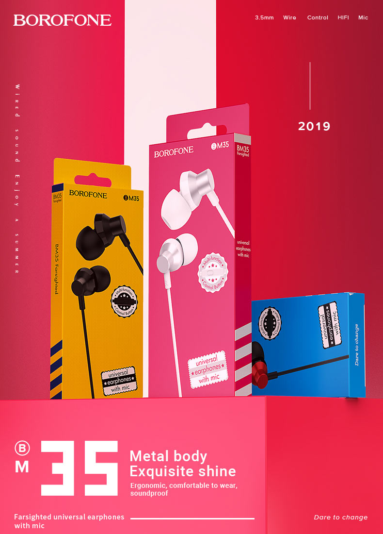 borofone news wired earphones m series bm35 en