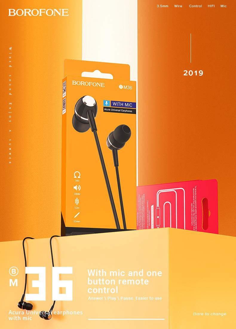 borofone news wired earphones m series bm36 en
