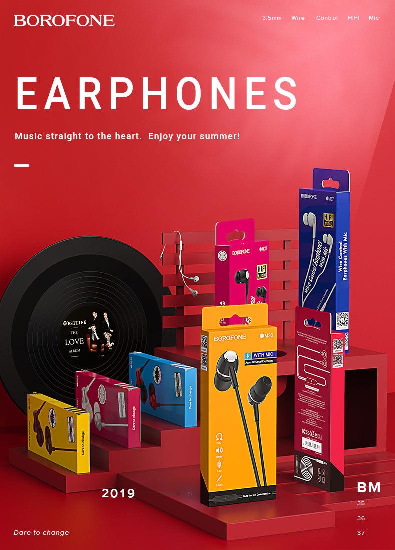 borofone news wired earphones m series en