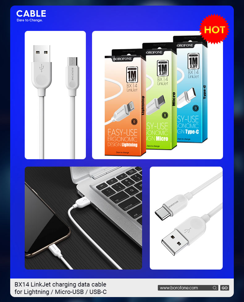 borofone news x series best selling cables bx14 en