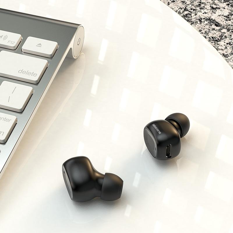 borofone bc28 shiny sound mini wireless headset interior black
