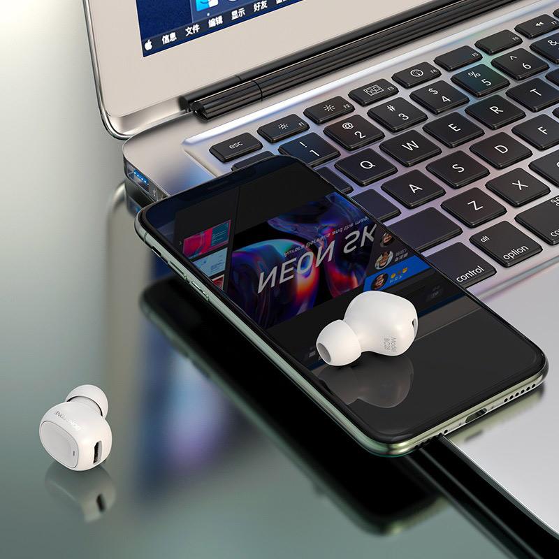 borofone bc28 shiny sound mini wireless headset interior white