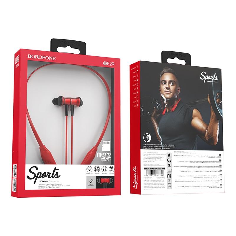 borofone be29 joyous sports wireless earphones package red