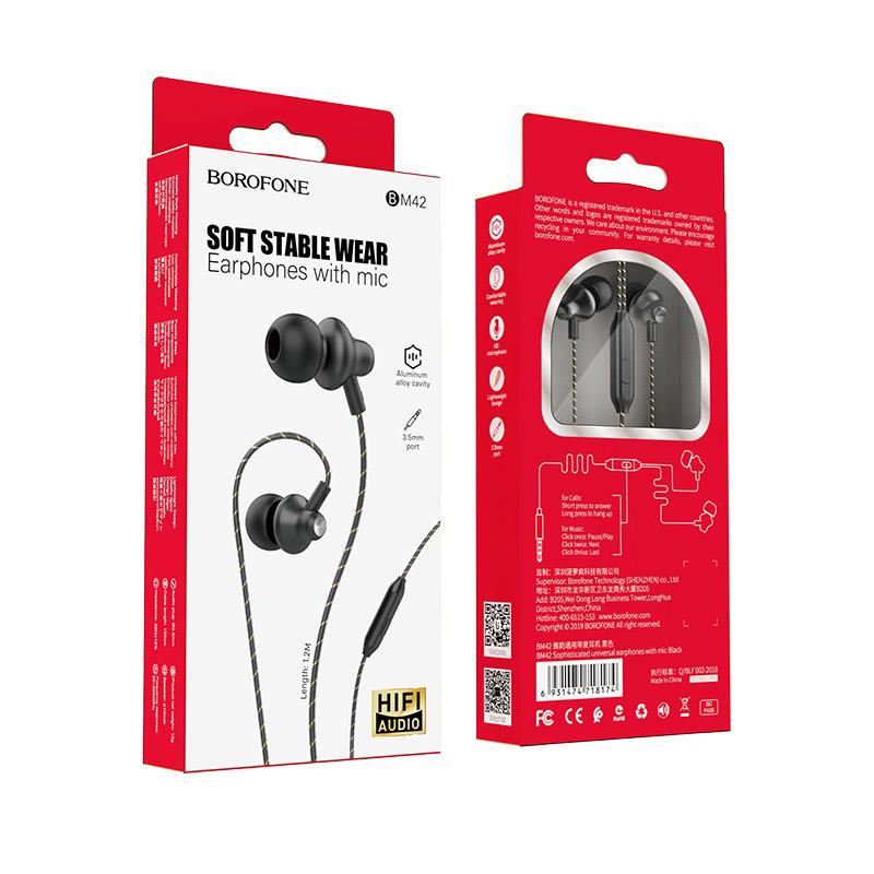 borofone bm42 sophisticated универсальные наушники с микрофоном упаковка черный