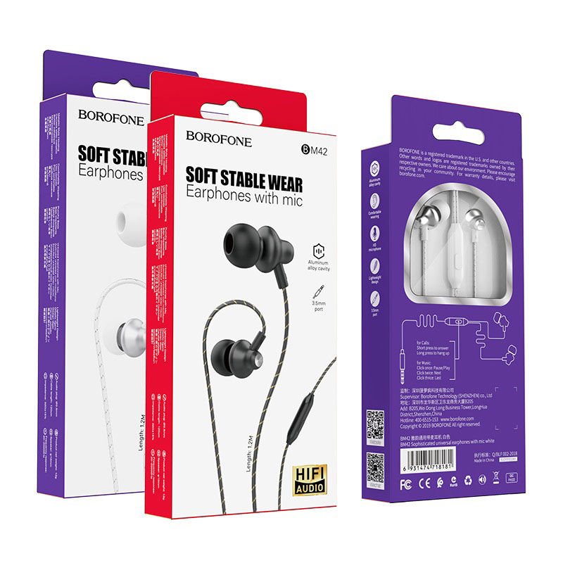 borofone bm42 sophisticated universal earphones with mic packages