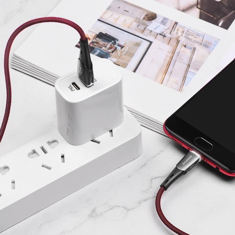 borofone bu15 superior charging data cable for micro usb interior black red