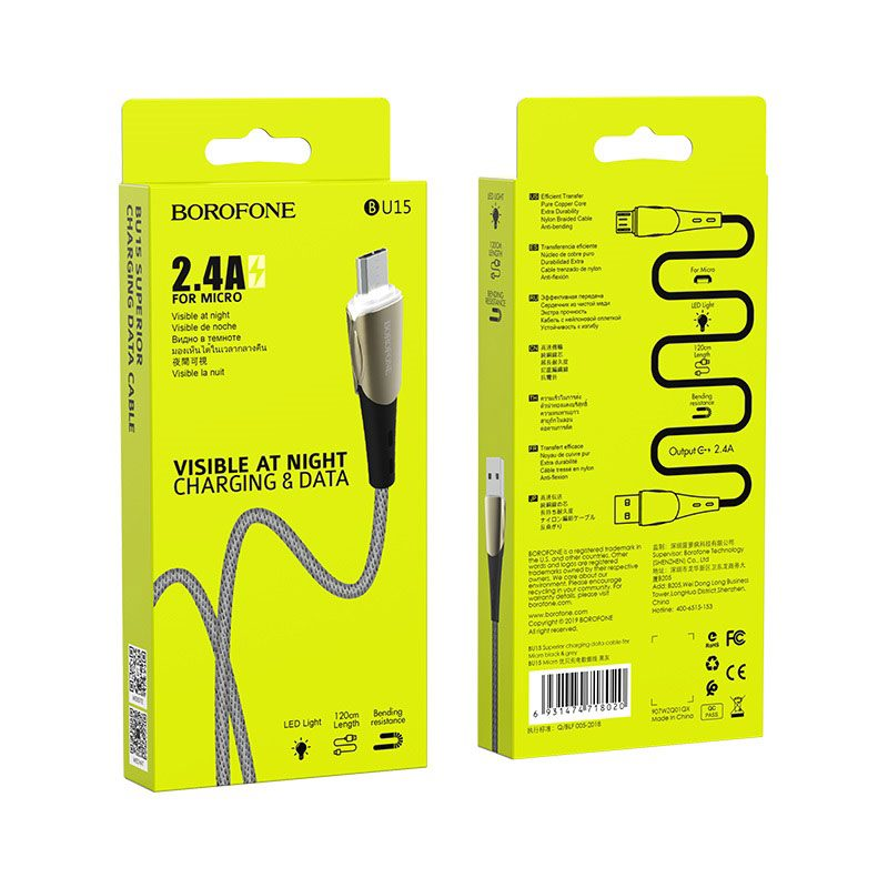 borofone bu15 superior charging data cable for micro usb package black grey
