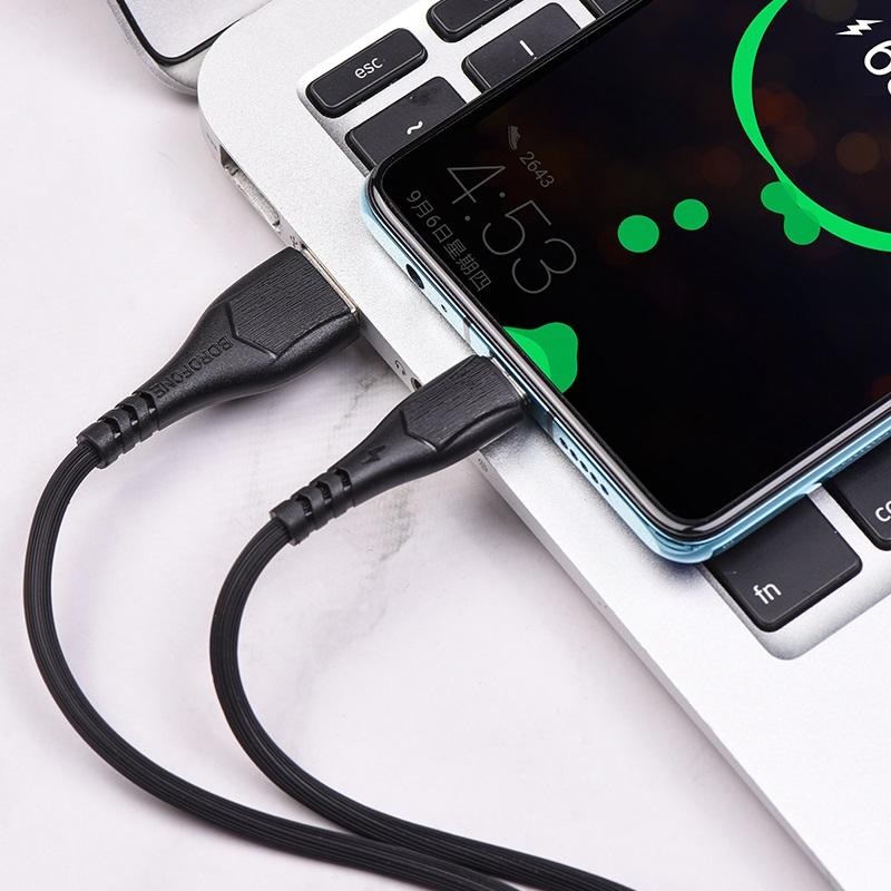 borofone bx37 wieldy кабель для зарядки и передачи данных для usb c интерьер черный